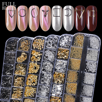 12 Grids Metal Rivet Nail Art Decoration Studs Mix Style Stars Moon Gold Silver Strass Jewelry DIY 3D Charms Accessories CH772