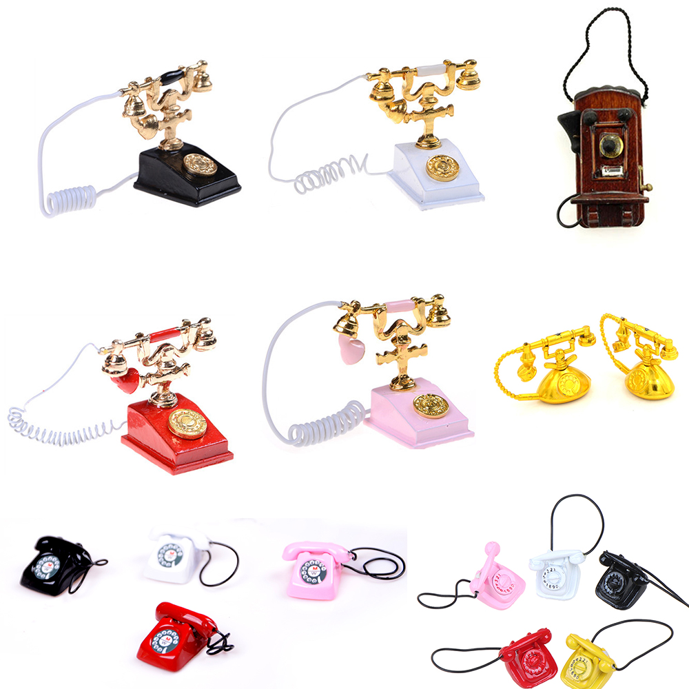 Retro Desk Phone Vintage Telephone Dolls Houses Furniture Acc Decor <font><b>Children</b></font> Pretend Play <font><b>Toy</b></font> 1/12 Metal Dollhouse Miniature image