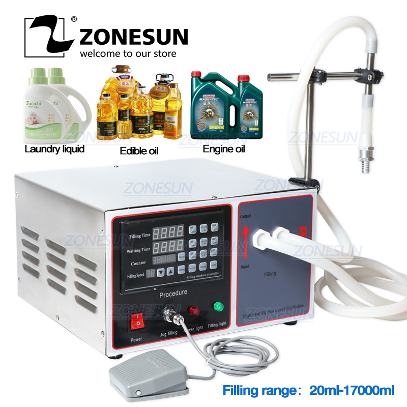 ZONESUN GZ-GFK17B Semi Automatic Filling Machine For Hand Sanitizer Laundry Cooking Oil Milk Liquid Bottle Filling Machine