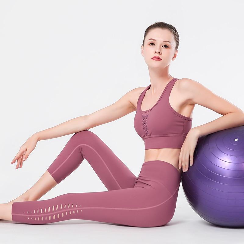 Survêtement ensemble de Yoga haut de Sport Sexy sous-vêtements de haute qualité Leggings ensemble haut femmes gymnastique Sport gilet Push Up Fitness entraînement soutien-gorge