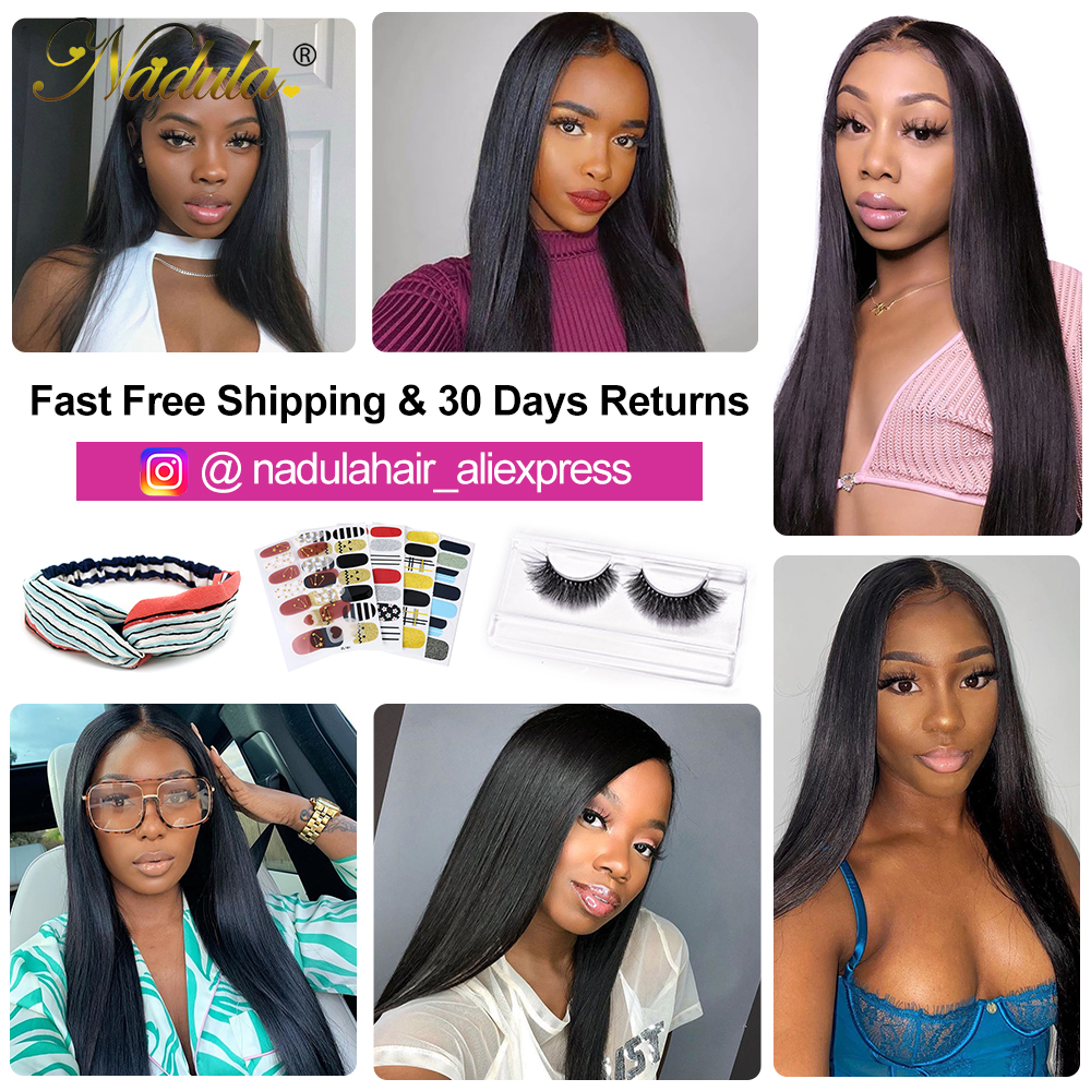 Nadula Hair 3 Bundles  Straight Hair With Closure 4*4 Lace Closure With  s Straight Bundles With Closure 6