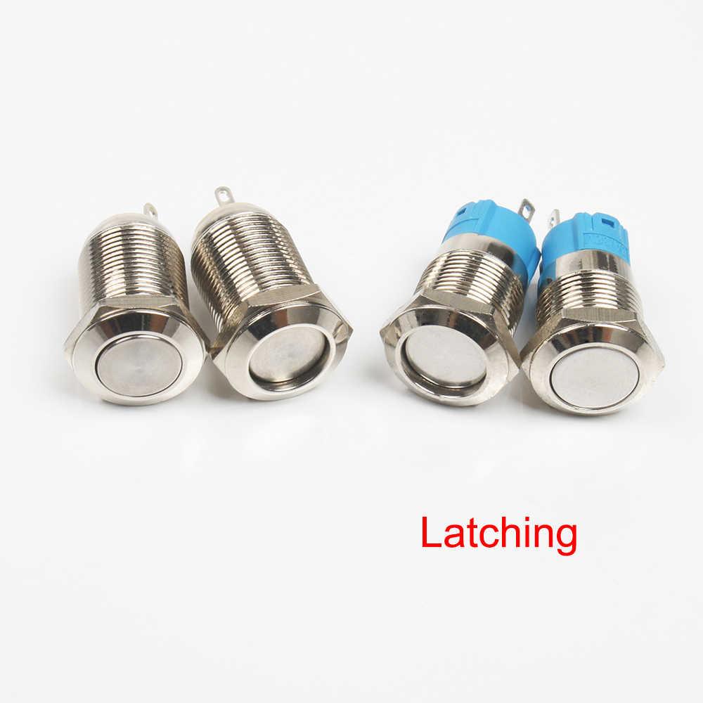 Botón de metal de 12mm, botón de latón niquelado resistente al agua, interruptor de enganche/autobloqueo/Fijación de alta/cabeza plana on-off