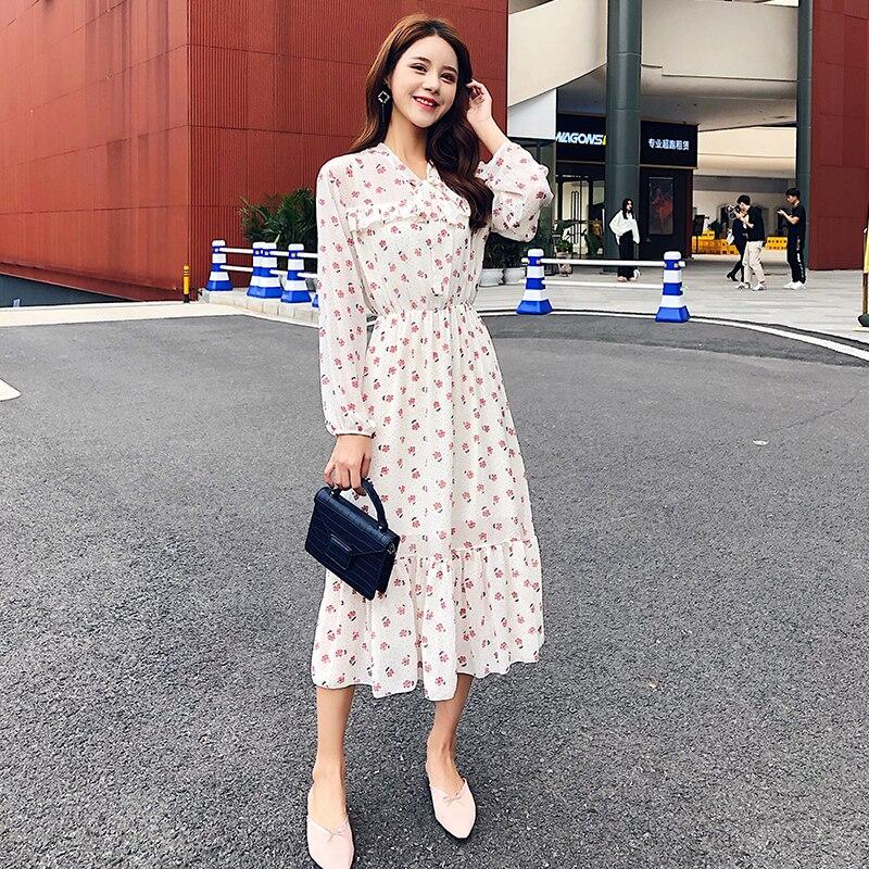 Элегантное шифоновое платье с оборками и цветочным принтом, женское весеннее ТРАПЕЦИЕВИДНОЕ ПЛАТЬЕ средней длины с высокой эластичной тал...