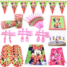 Disney Minnie Mouse party decorations theme plates napkins cups banner disposable tableware sets