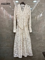 Top Quality New 2020 Spring Long Dress Women V Neck Allover Exquisite Embroidery String Belt Patchwork Long Sleeve Dress Maxi