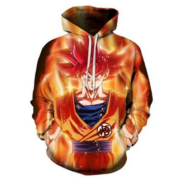 3D Cool Anime Dragon Ball Print Men's Hoodies Harajuku Anime  Style Sweatshirts With Hat Long Sleeve Pullover  Boy golden Coats 1