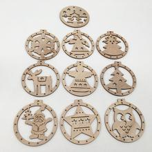 10pcs Christmas Ornaments  Wooden Decora Pendant Snowman Deer snowflake for New Year Home Party Decorations Supply