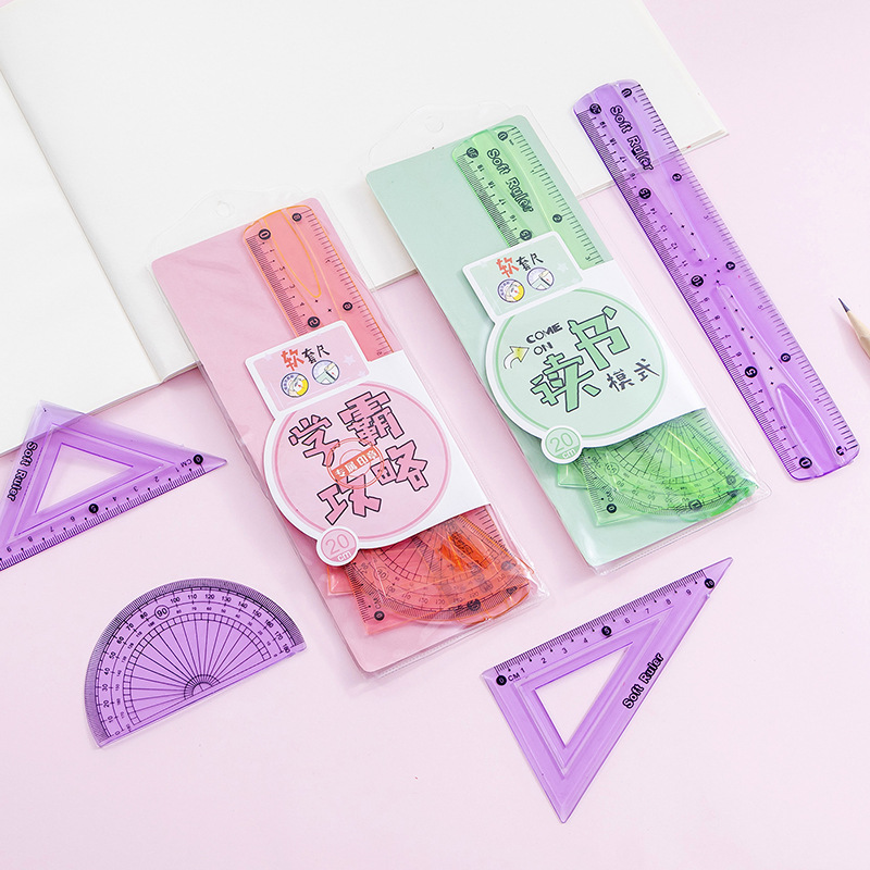 Creative Soft Ruler Students Special Soft Ruler Cartoon Ruler Four Sets Of Straight Ruler Triangle Ruler Angle Rule