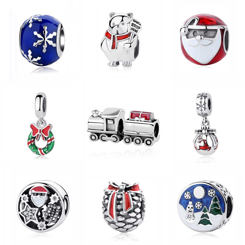 Original 100% 925 Sterling Silver Bead Charm Christmas Train House Tree Santa Charms Fit Pandora Bracelets Women Diy Jewelry