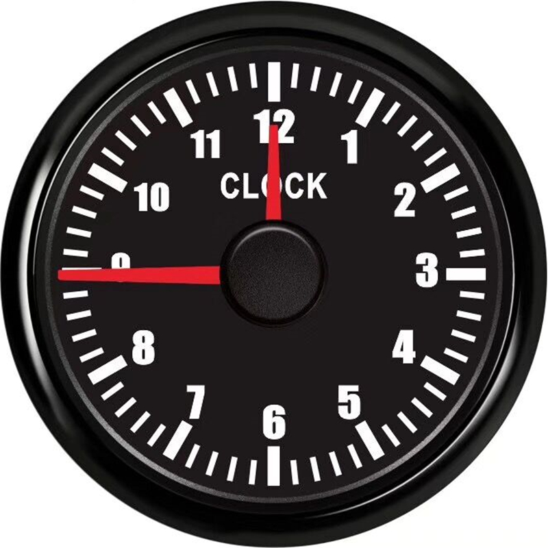 52mm Clock Gauge Car Boat Clock Meter 0~12 Hours Hour Meters Guage Instrument with Red Backlight fit 9~32V