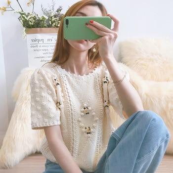 ¡Novedad de 2020! Jersey corto de punto bordado a croché Vintage para mujer, Jersey estilo salvaje de punto con cuello redondo