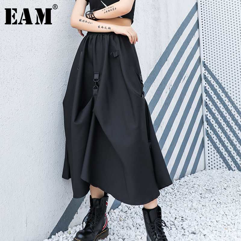 [EAM] High Elastic Waist Black Asymmetrical Fold Split Joint Half-body Skirt Women Fashion Tide New Spring Autumn 2020 1H324
