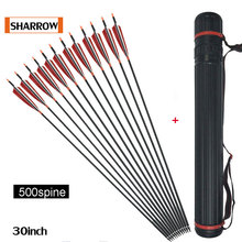 12pcs/Pack Spine 500 Turkish Feather Shooting Arrows Carbon Fiber Iron Bolts Suitable Composite Bow Long Archery Hunting