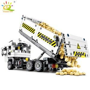 Image 5 - HUIQIBAO 799pcs טכני הנדסת Dump משאית אבני בניין רכב לבני מכונית סט חינוכי DIY צעצועים לילדים בנים