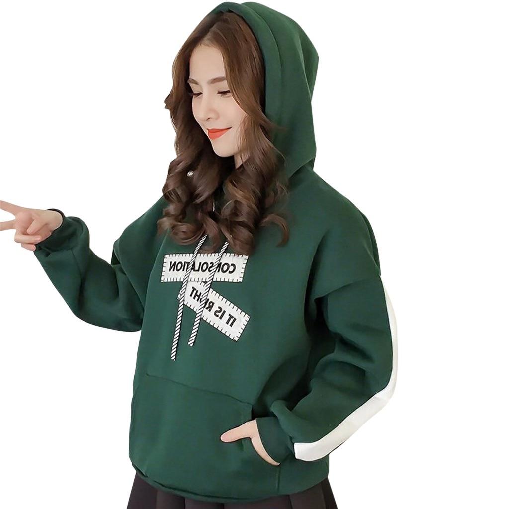 Fashion Women Letter Printing Hoodie Top Sweatshirt Long Sleeve Blouse splice Oversize Hoodies Women
