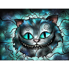 "100% la 5D Diy diamante pintura ""Horror Gatito"" pintura con diamantes completa cuadro de mosaico de diamantes de imitación Diamant bordado animal(China)"