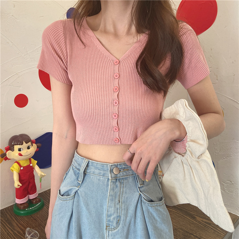 Brandy Melville Style Sexy Knit  Tank Tops Vintage Aesthetic Clothes Blackpink  Solid Crop Top T Shirt Women Summer