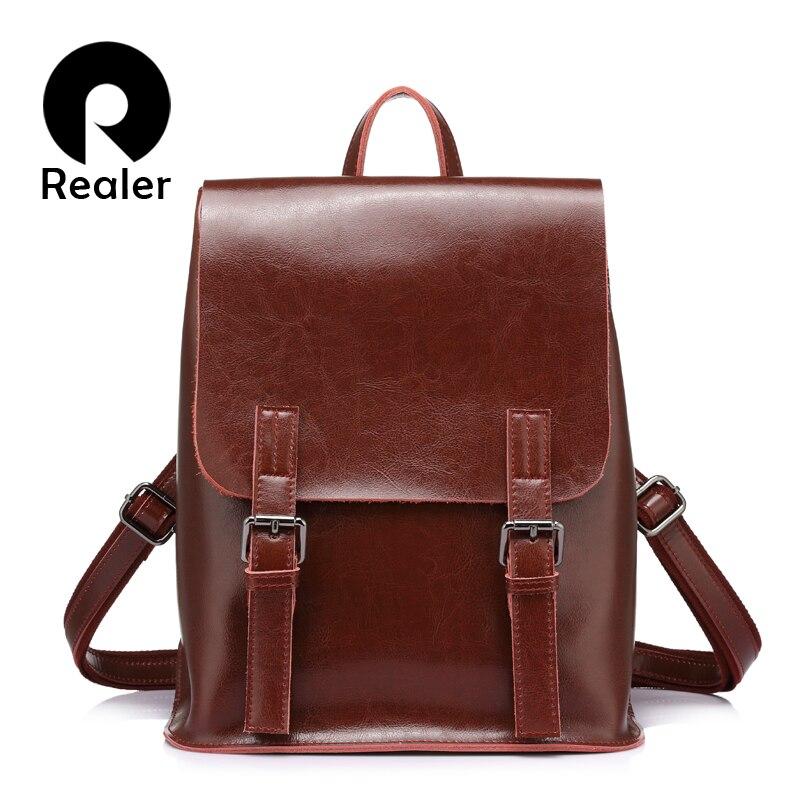 REALER Brand Backpack Women Fashion For Teenager Girl Oil Wax Cow Split Leather Backpacks Vintage School Bag Shoulder Bag Female