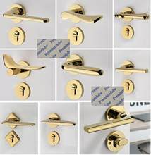 Diamond Round Square Bird Mortise Interior Bedroom Door Rosette Lock Set Thumb turn Shiny Bright PVD Golden Magnet Lock Body(China)