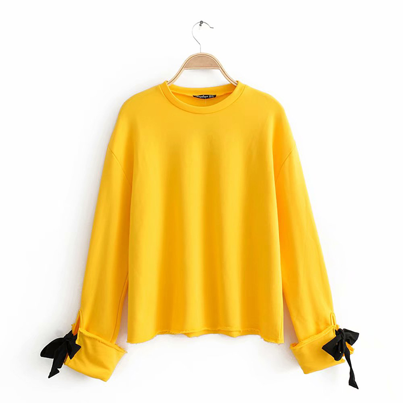Bow Cufflinks Pullover Spring Autumn Women Solid Loose Thick Top Casual Long Sleeve Ladies Thin Tops