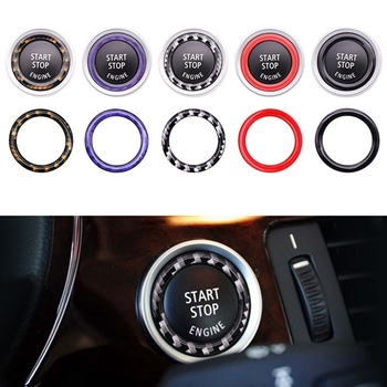Car Engine Start Button Replace Cover Stop Switch Accessories Key Ring For BMW X1 X5 X6 1 3 5 Series E87/E90/E60 image