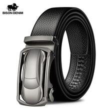 بيسون الدنيم جلد طبيعي الذكور حزام فاخر المعادن التلقائي مشبك حزام أحزمة للرجال البقر حزام عالية الجودة موضة N71396