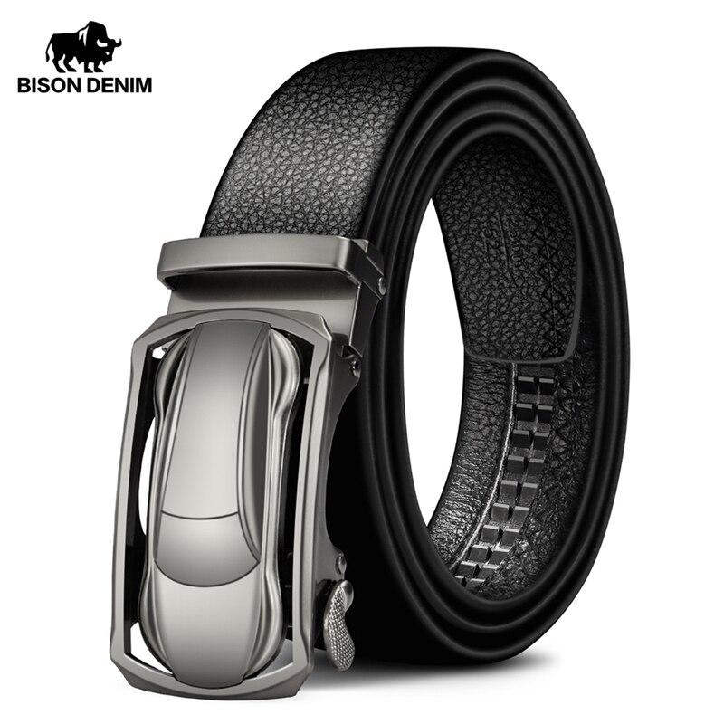BISON DENIM Genuine Leather Male Belt Black Luxury Strap Belts for Men Cowskin Classic Fashion Pin Buckle men belt N71396Mens Belts   -