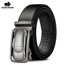 BISON DENIM Genuine Leather Male Belt Luxury Metal Automatic Buckle Strap Belts for Men Cowskin High Quality Fashion belt N71396