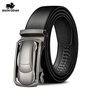 Image 1 - BISON DENIM Genuine Leather Male Belt Luxury Metal Automatic Buckle Strap Belts for Men Cowskin High Quality Fashion belt N71396