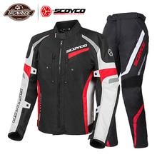 SCOYCO Motorcycle Jacket Men Moto Jackets +Motorcycle Pants Winter Suit Motocross Riding Jacket Moto Protection Body Armor