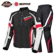 Scoyco Motorfiets Jas Mannen Moto Jassen + Motorfiets Broek Winter Pak Motocross Rijden Jas Moto Bescherming Body Armor