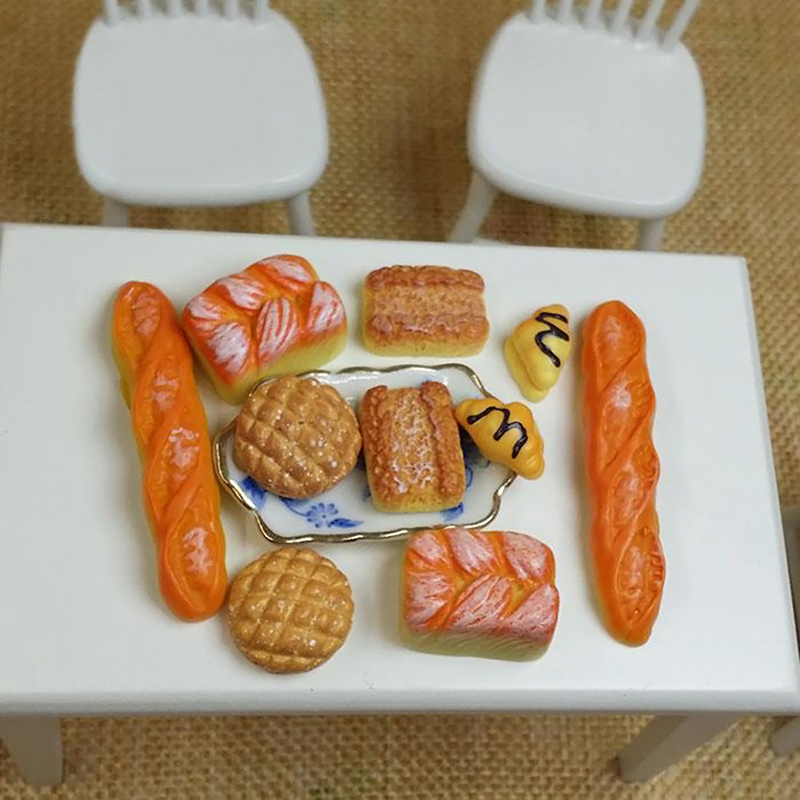 Dongzhur 6pcs/set 1:12 Dollhouse Acessories Simulation Miniature Breakfast Kitchen Breads Dollhouse Decoration Food Model Toys