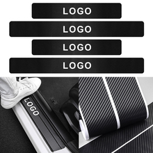 Car Styling 4PCS Carbon Fiber Door Sill Scuff Plate Decor Sticker For Honda Civic Accord Hrv Jazz CR-V CR-Z CRX City Prelude FIT
