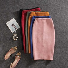 NiceMix spring autumn women formal solid Pencil Skirt split slim Autumn knee-length Suede leather pencil skirt stretch skirts