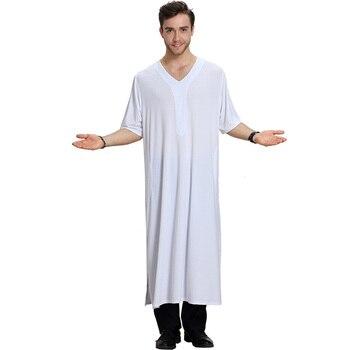 Muslim fashion mid-sleeved V-neck summer cool mens robe Saudi Arabia national casual long skirt Islamic loose