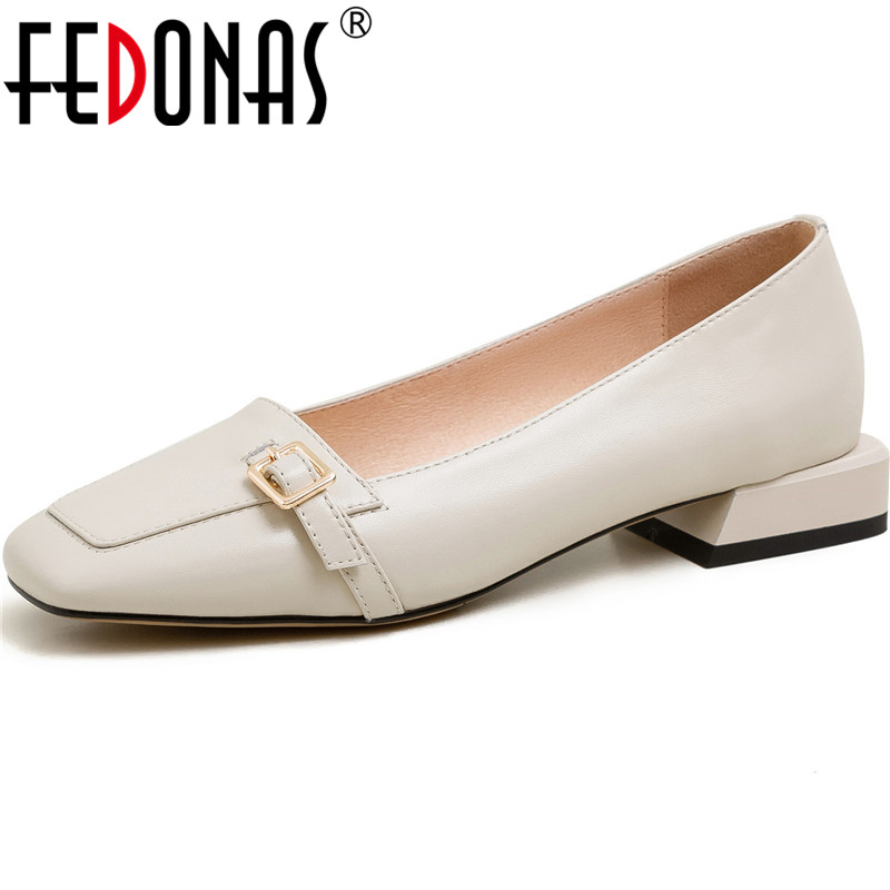FEDONAS Buckle Decoration Women Shoes Basic Square Heels Pumps Round Toe Genuine Leather Concise Office Lady Spring Shoes Woman