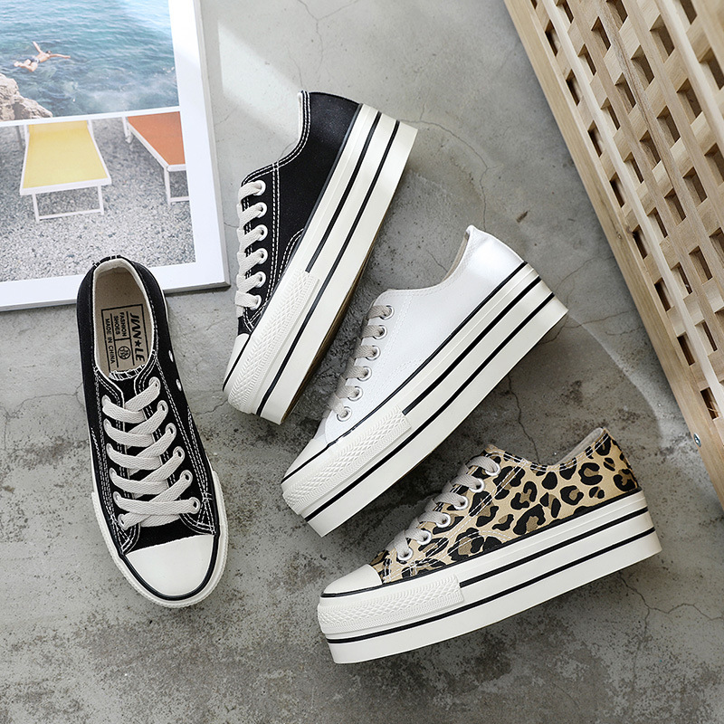 Leopard High Heel Canvas Shoes Women Platform Jogging Breathable Casual Girls Outdoor Fashion Sneakers Chaussures Femme ZZ-38