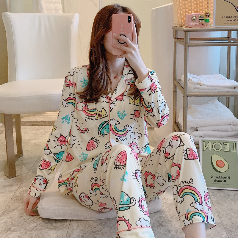 Women Pajamas Sets Lovely Wear Leisure Clothes Personality Autumn Long Sleeved Women Pajamas For Women Pyjamas Sets Nightwear Pj