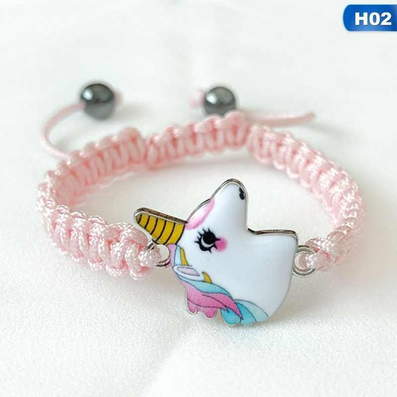 Örgü Unicorn At Bilezik Sevimli Pembe/Beyaz Hematit Kolye Zincir Bilezik Kadınlar Kız Hediye için Bilezik Takı