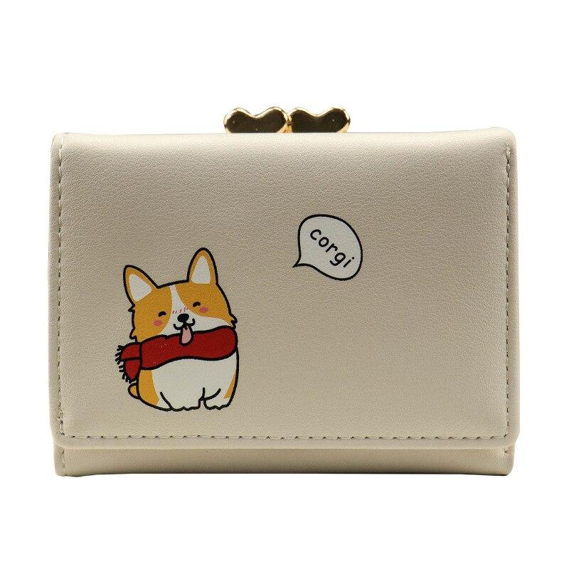 Cartoon Cute Corgi Wallet Women Card Holder Small Ladies Wallet Purse Leather Money Bag Women Wallets Coin Pocket Portfel W073
