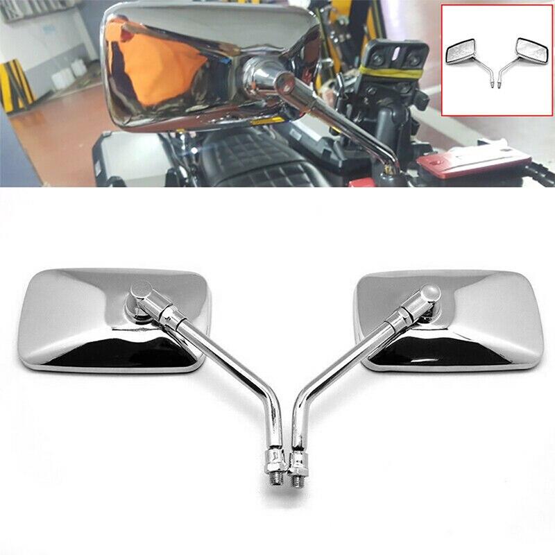 Deri 1 par universal retângulo de alumínio moto rcycle espelhos retrovisores 8-10mm cromo para honda retroviseira moto espelho