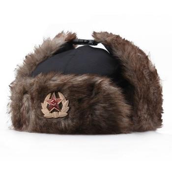 Fashion Winter Soviet CCCP badge Lei Feng hat windproof warm earmuffs men and women outdoor riding Russian warm hats gorras