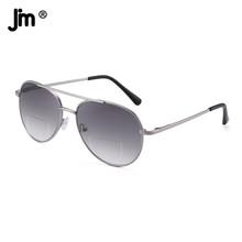 JM Vintage Bifocal czytanie okulary przeciwsłoneczne czytnik zawias sprężynowy mężczyźni kobiety Retro Pilot okulary do czytania tanie tanio WOMEN Unisex Jasny szary CN (pochodzenie) ZTML0001 45cm Z tworzywa sztucznego 53cm Spring Hinge