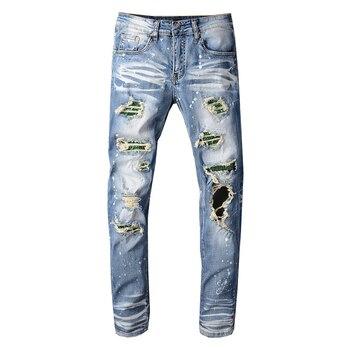 Men's Crystal Holes Ripped Jeans Slim Fit Skinny Patchwork Distressed Blue Stretch Denim Pants Ripped Jeans For Men Fashions ripped denim grab bag