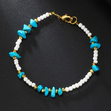 Bohemian Colored Beads Irregular Natural Stone Alloy Elastic Anklet for Women Fashion Beach Accessories Anklets for Women retro style turquoise beads cut out carved alloy anklet for women