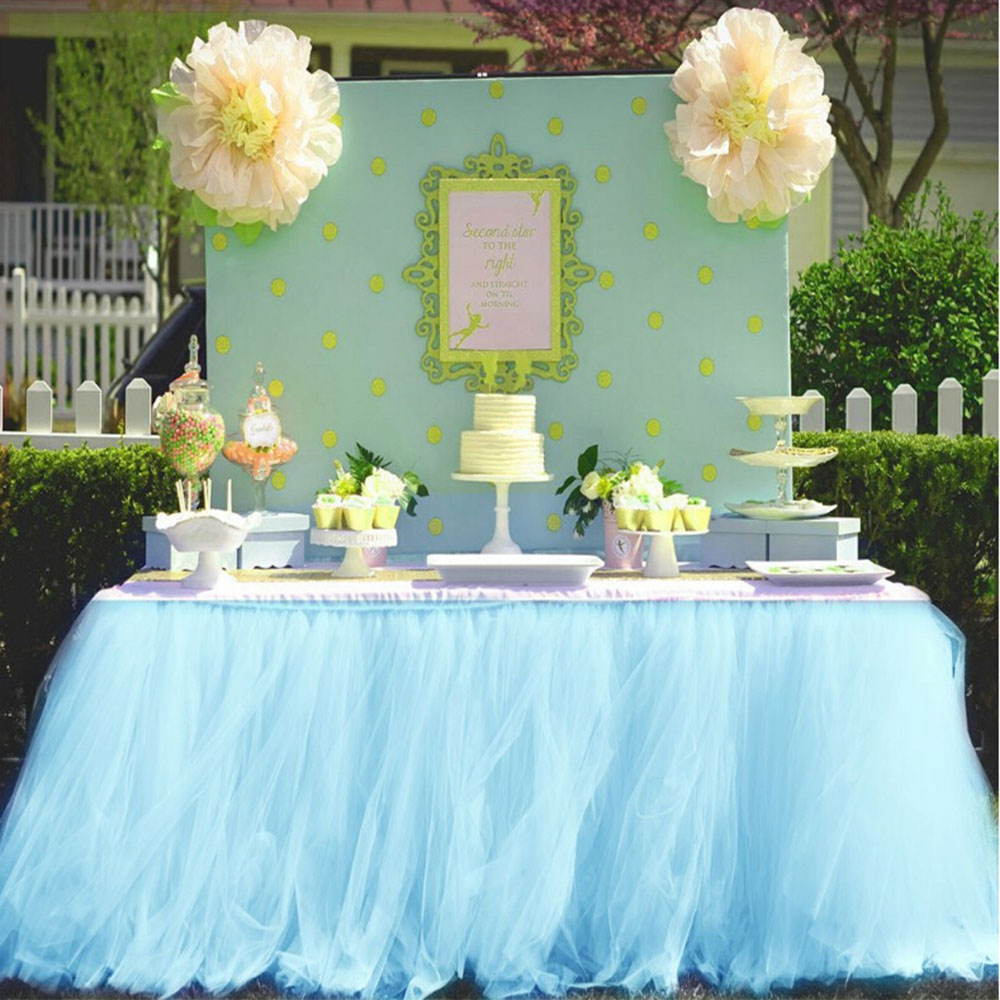 Lace Table Skirt Tulle for wedding decoration Party Tutu Tableware Cloth Mint Green Baby Shower Table Skirting White Home Skirt