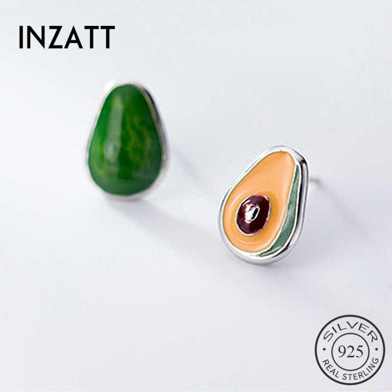 INZATT Real 925 Sterling Silver Enamel Fruit Stud Earrings For Fashion Women Cute Fine Jewelry Minimalist Accessories Gift