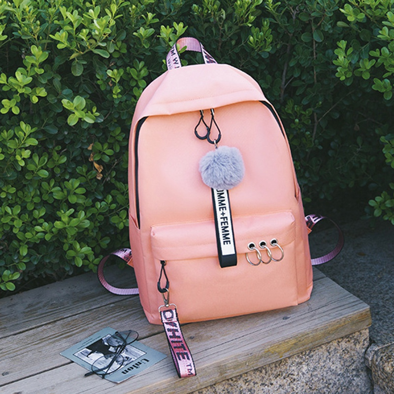 Fashion New Women Canvas Backpack Teenager Cute Hairball Ribbon Students School Bag Girls Large Capacity Travel Bag