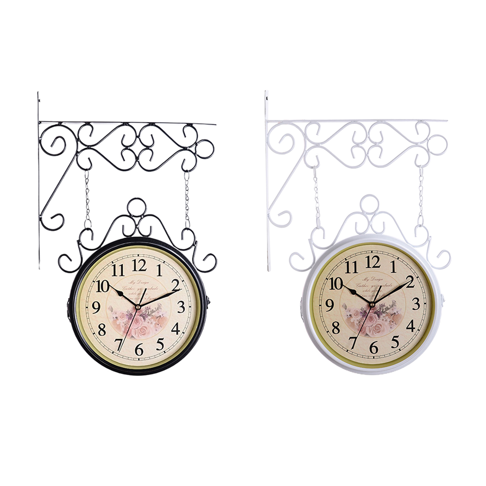 Vintage Style Double Sided Metal Wall Clock Station Silent Clock Wall Hanging Clock Metal Clock Home Living Room Office Decor