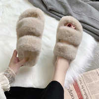 Winter Women House Fuzzy Slippers 2019 Faux Fur Fashion Warm Shoes Woman Slip on Flats Female Furry Slides Black Pink Cozy Home